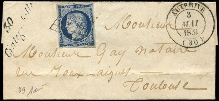 France - Postmarked GRID on LSC, i.e. T14 AUTERIVE and cursive 30/CINTEGABELLE Very very fine - Yvert 4