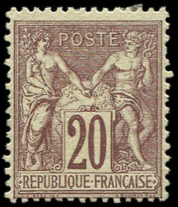 France - 20 cts brown-lilac VF - Yvert 67
