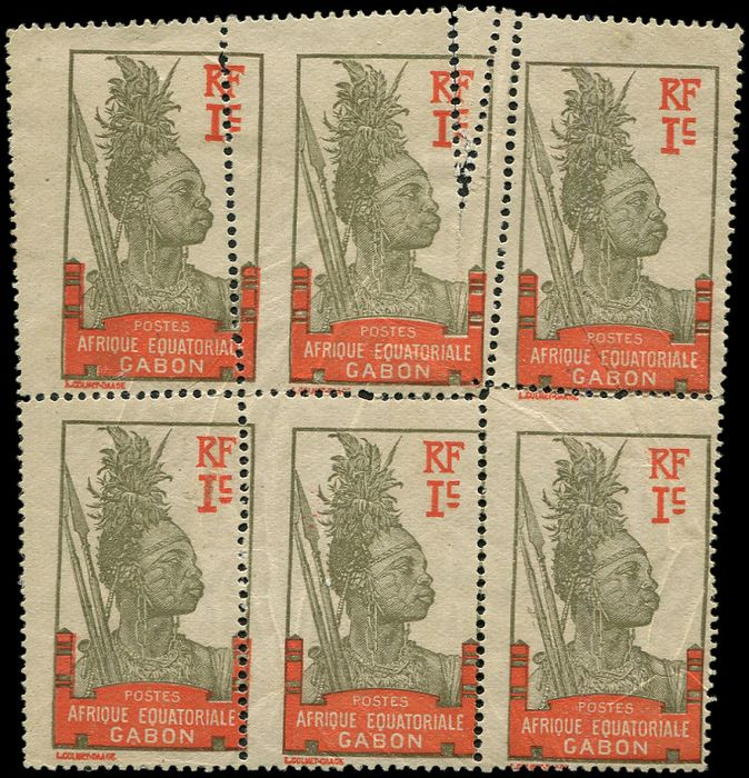 Gabon - 1 franc lilac brown and orange BLOCK of 6 with perforation error variety Very very fine - Yvert 49