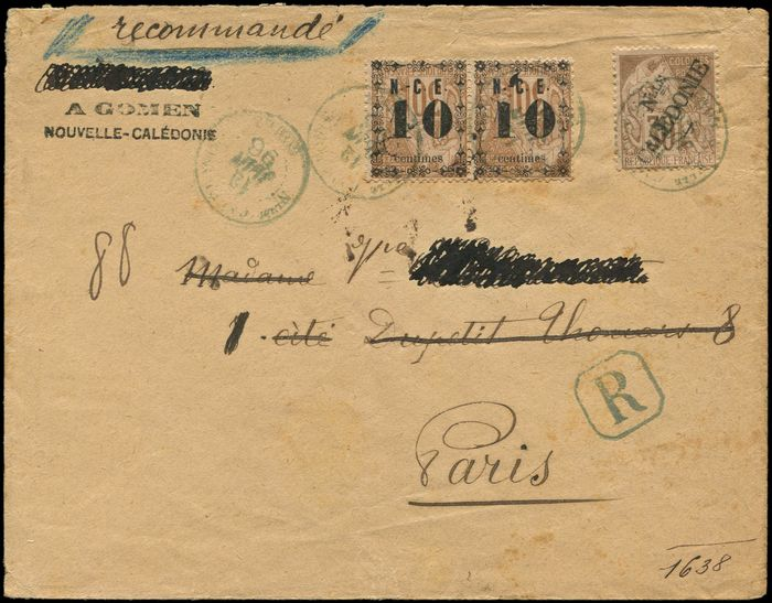 New Caledonia - 10 on 30 centimes brown PAIR and No. 30, 30 cts brown postmarked i.e. blue GOMEN 12/6/96 on envelope Rec. Arr. Paris 1e - Yvert 12a