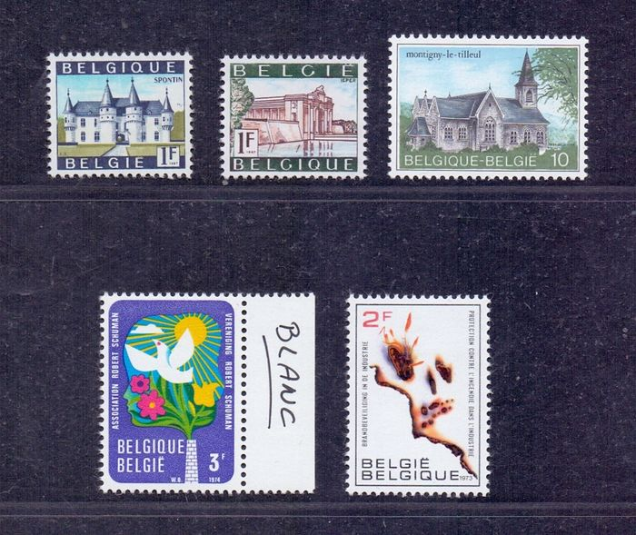 Belgium 1967/1984 - Four issues on a deviating paper type with Spontin and Ieper on phosphorus paper and a Tourist stamp - OBP / COB 1423P/1424P3 + 1660P2 + 1707P2 + 2140P5b