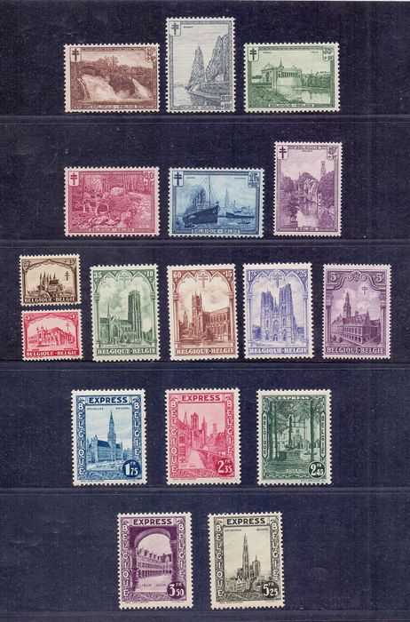 Belgium 1928/1929 - Complete series of Cathedrals, Express stamps and Landscapes - OBP / COB 267/72 + 292C/92G + 293/98