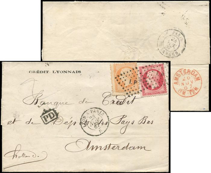 France - and 24 postmarked Amb. I.P sur LSC. date stamp LYON A PARIS 23/11/67. arr. Amsterdam on 26/11. - Yvert 23