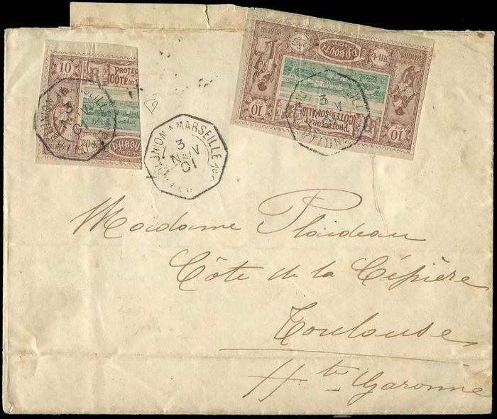 Coast of the Somalis - French Protectorate - and 10b: 10 centimes brown-lilac and green + half of 10 centimes postmarked i.e. octagon LA REUNION to MARSEILLE 3/11/01 - Yvert 10