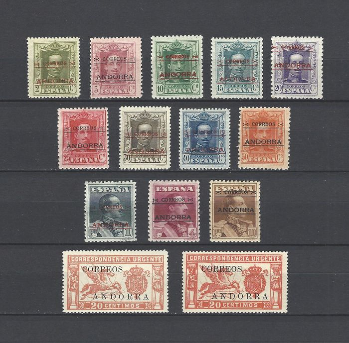 Andorra - Spanish 1928 - Complete set - well centred - Cem certificate - Edifil 1/14