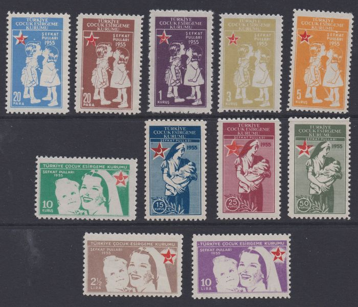 "Turkey 1955 - Compulsory surcharge stamps ""Children's Aid"", complete, including the expensive values - Michel Z 185-195"