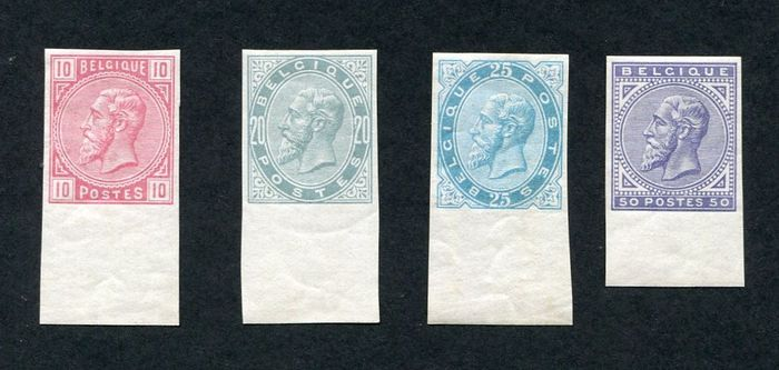 Belgium 1883 - Leopold II : complete set imperforate with sheet edge - OBP / COB 38/41 ONGETAND
