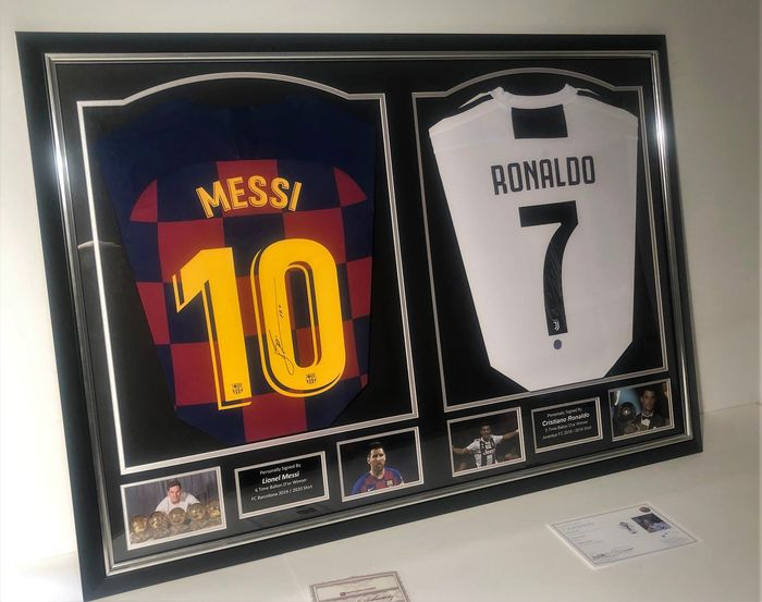 FC Barcelona + Juventus FC - European Football League - Lionel Messi and Cristiano Ronaldo Official Dual Signed  in Brand New Deluxe Frame + COA  and - 2020 - Jersey