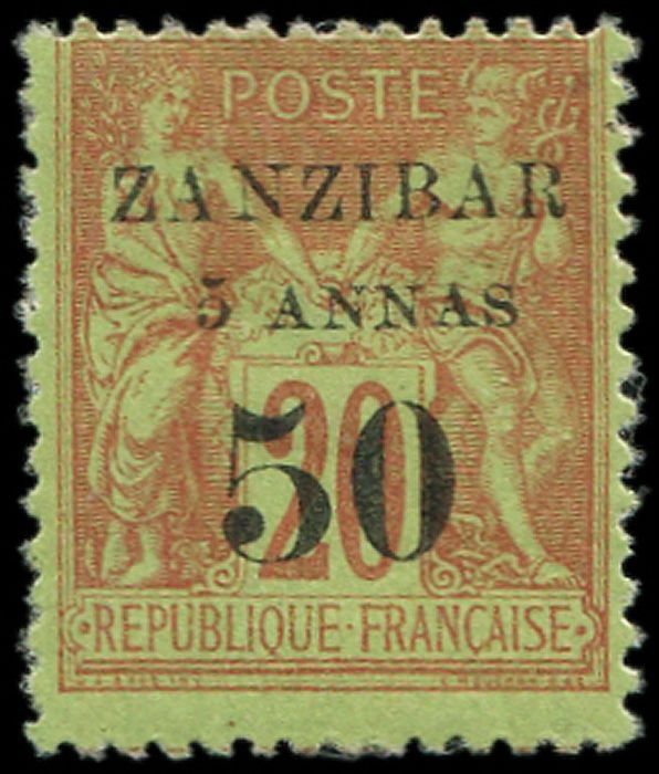 Former French colonies & territories - 5a and 50 on 20 centimes brick on green. VF Br - Yvert 15