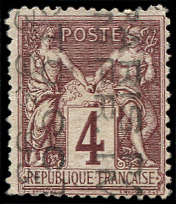 France - Sage, 4 centimes lilac-brown. without date. Irregular perforation. VF - Yvert 14