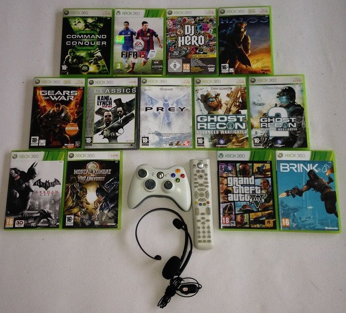 Microsoft - Xbox360 controller, remote, headset & 13 games