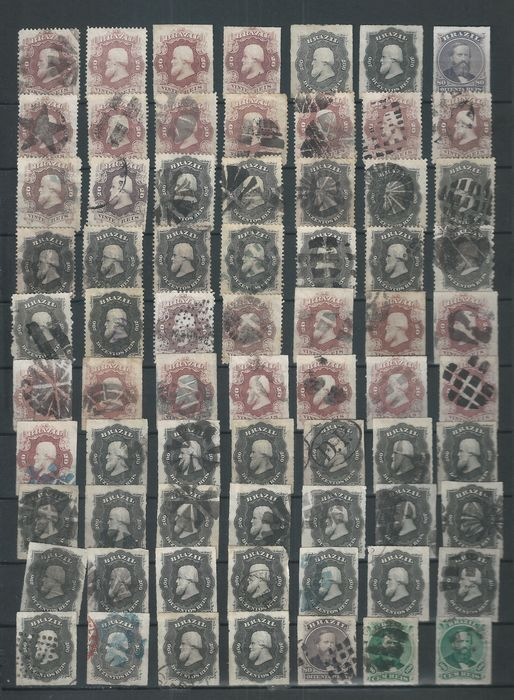 Brazil - Lot of classic Brazilian stamps on album page.