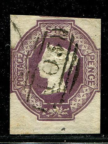 Great Britain 1854 - 6 pence purple Embossed Bottom Marginal - Stanley Gibbons 60