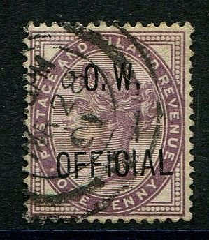 1896 - One penny lilac OW OFFICIAL - Stanley Gibbons O33