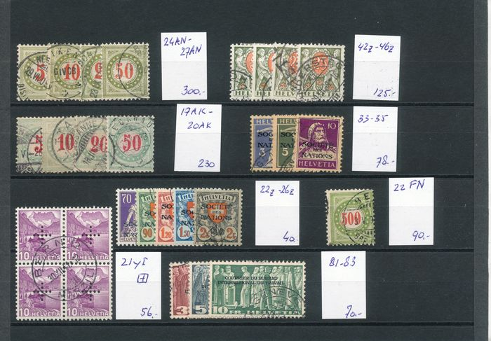 Switzerland 1882/1938 - Back of the book selection on a card, including postage due stamps