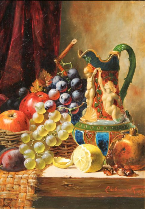 R. W. Warwick, XIX century - Still life with fruits and pitcher