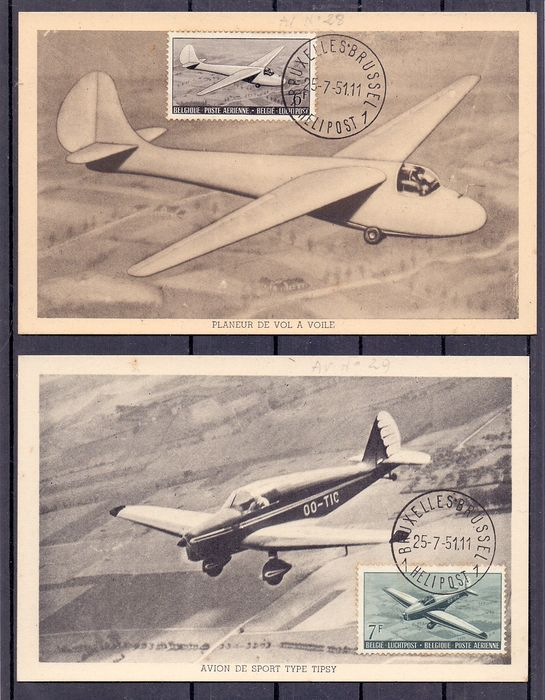 Belgium 1930/1958 - Collection of airmail stamps on DAVO album pages with extras - OBP / COB PA 1/35 en 810A