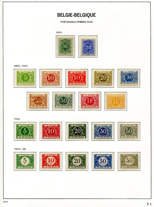 Belgium 1870/1988 - Elaborate collection of surcharge postage due stamps on DAVO album pages - OBP / COB TX 1/83