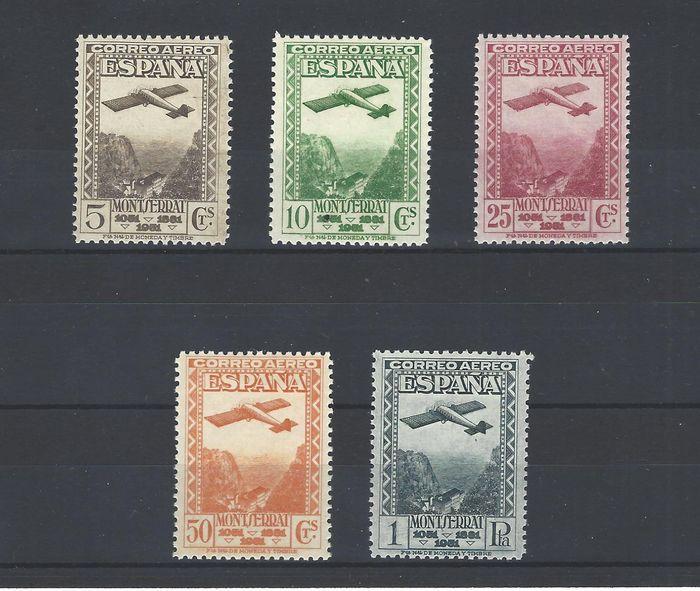 Spain 1931 - Montserrat Airmail complete set, well centred - Edifil 650/654
