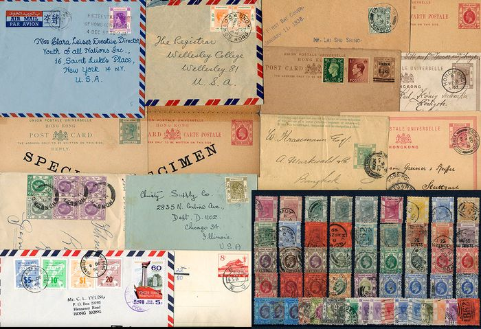 Hong Kong - Lot with 14 documents and 53 stamps - Michel