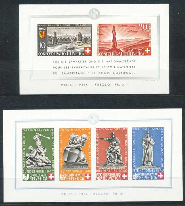 Switzerland 1937/1955 - The block issues from this period - sbk 3-15