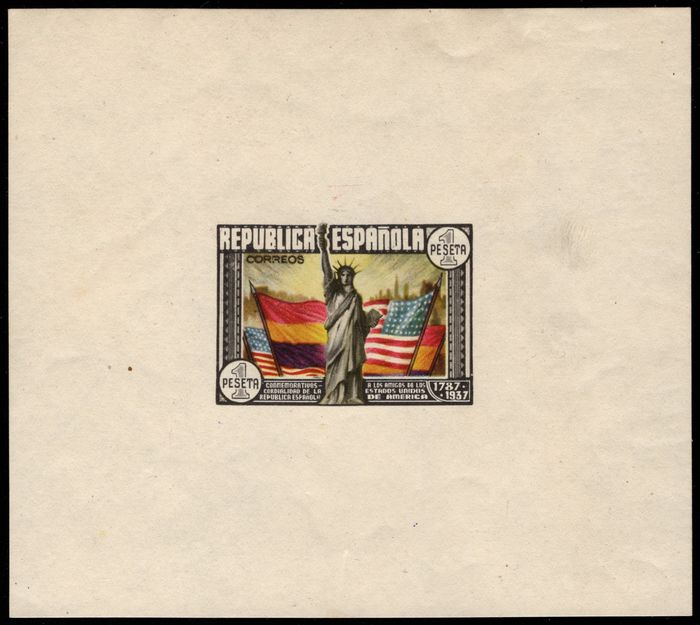 Spain 1938 - Anniversary of the Constitution of the USA miniature sheet. Omitted numbering. Imperforated. - Edifil 764n