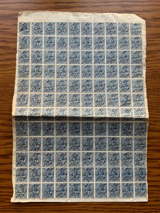 Spain 1876 - Alfonso XII. 10 céntimos blue. Block of 120 pieces on fragment. - Edifil 184