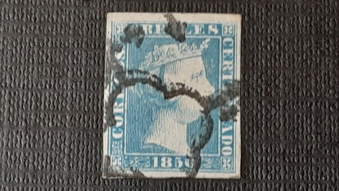 Spain - 1850 - Isabella II, imperforated. Value of 6 r. blue. Navarro Payá authenticity mark. - Edifil 4