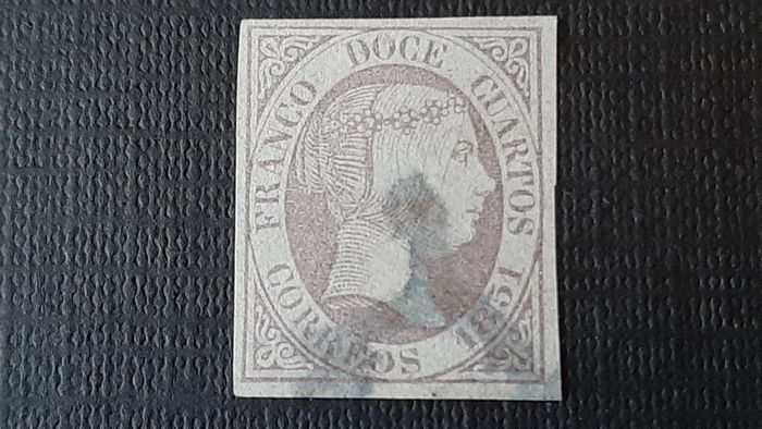 Spain - 1851 - Isabella II, imperforated. Value of 12 c. lilac. Roig authenticity expertisation mark. - Edifil 7