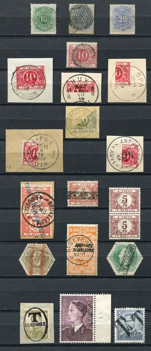 Belgium 1870/1958 - 21 Stamps with special stamps such as TX5b 'salmon pink/saumon' rural 18-line stamp (RR = RARE)