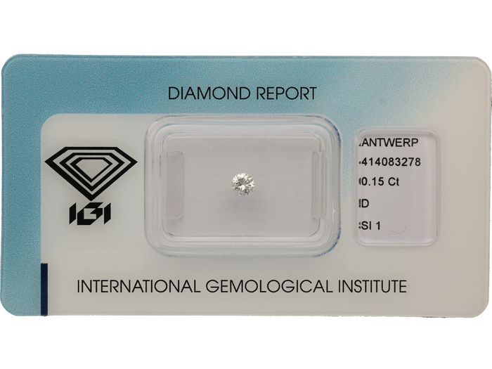 1 pcs Diamant - 0.15 ct - Brillant - D (farblos) - SI1 ***No Reserve***