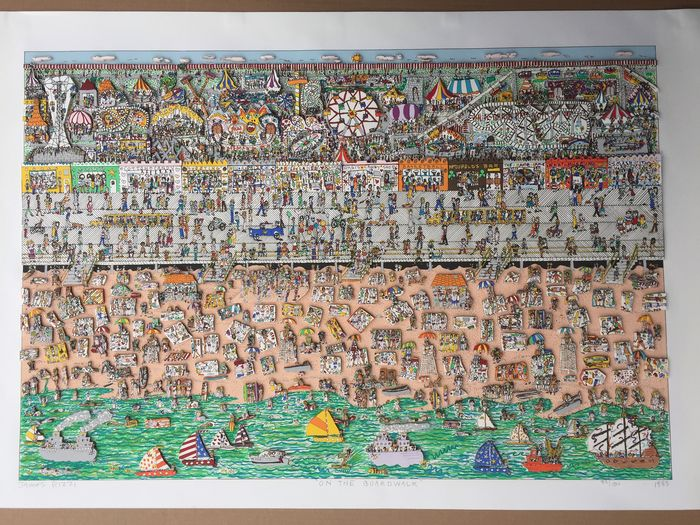 James Rizzi - ON THE BOARDWALK  - original 3D, hand signed
