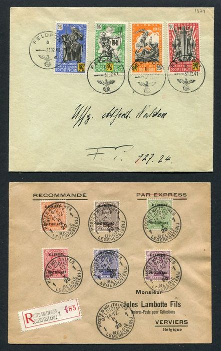 Belgium 1919/1941 - 2 Special circulated covers including 1 with 4 stamps 'Flemish Legion' - OBP / COB OC 38/39 + OC 41/44 + E 22/25