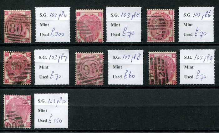1867/1873 - 3 pence rose COMPLETE set of plates 4-10 - Stanley Gibbons 103