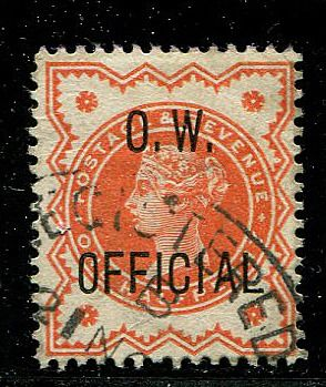 1896 - Halfpenny vermillion OW OFFICIAL - Stanley Gibbons O31