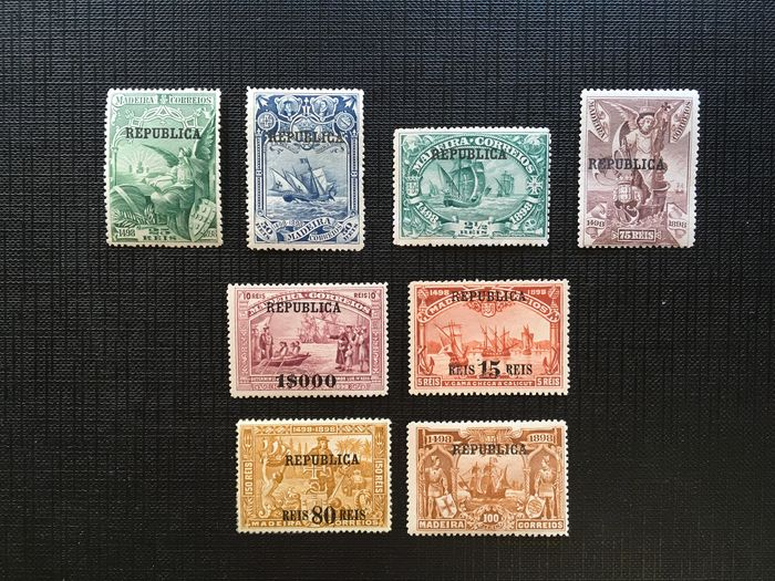 Portugal 1911 - 4th Cent. Discovery of the Maritime way to India. Madeira. 'República' overprint - Mundifil 198/205