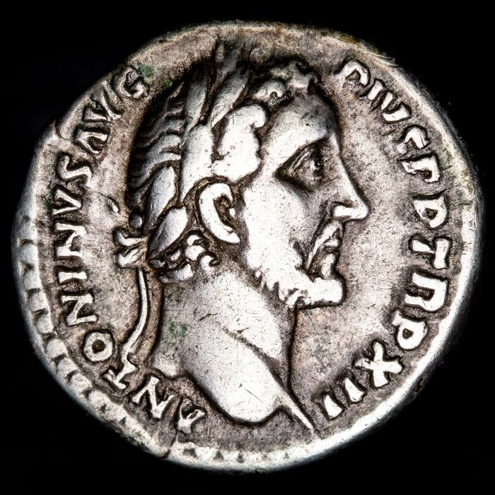 Empire romain. Antonin le Pieux (138-161 apr. J.-C.). AR Denarius,  Rome, AD 148-149 - COS IIII, Annona holding grain ears and rudder.