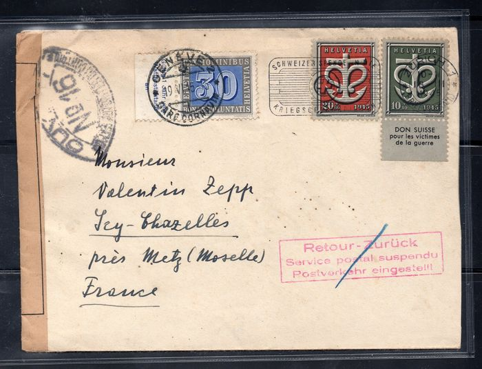 Switzerland 1945 - for France, returned for suspended postal service, re-run and post office in Geneva.