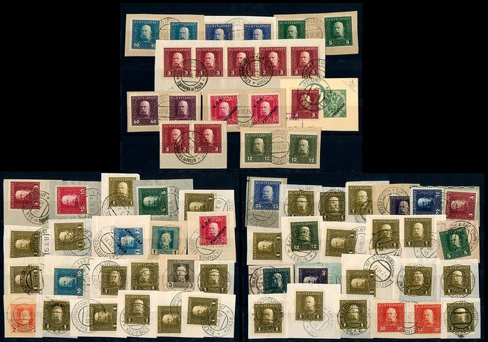 """Austria-Hungary - Military mail 1863/1915 - Lot with 53 fragments with postmarks of the base post offices (""""Etappenpostamt"""") in occupied Poland as well as 14 Austrian documents - Michel"""
