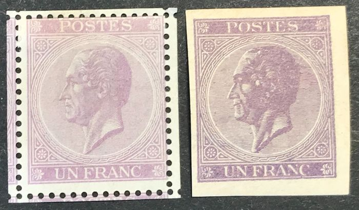 Belgium 1865/1866 - Leopold II in profile - 1fr lilac London print & imperforate print - OBP / COB 21B