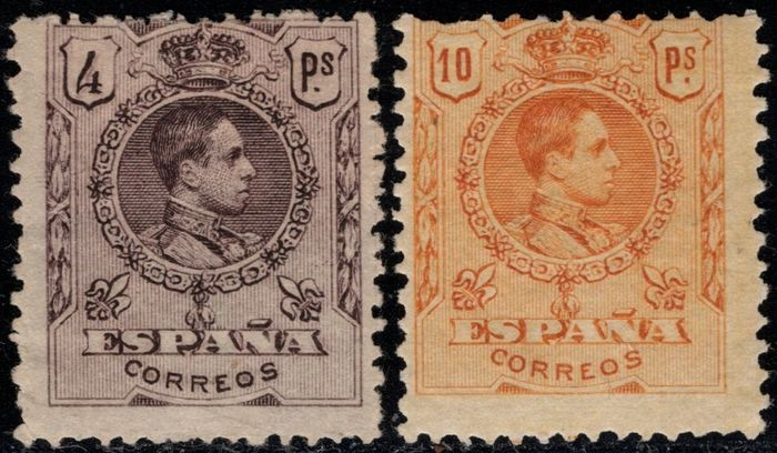 Spain 1909 - Alfonso XIII. Medallion type. 4 pts violet and 10 pts orange. Specimen. Numbering: A000000 - Edifil Especializado Tomo II 279/280N