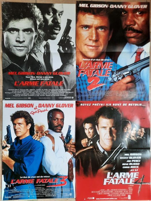 Lethal Weapon - Lot of 4 - Mel Gibson, Danny Glover - Póster, Original French Cinema release
