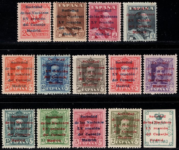 Spain 1929 - Alfonso XIII. Vaquer type. Complete set. League of Nations - Edifil 455/468