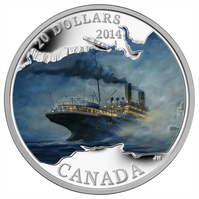 Canada. 20 Dollars 2014 Proof 'Lost Ships in Canadian Waters - Empress of Ireland' 1 oz