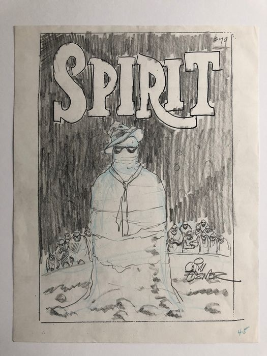 The Spirit #79 - Preliminary Cover Art - by Will Eisner - Signed - Page volante - Art original - (1991)