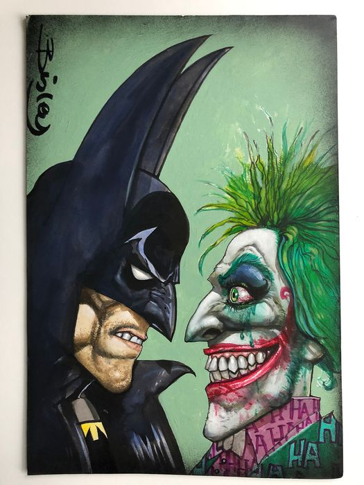 Batman And The Joker - Published Pin-Up + 2018 Sketchbook - Painted by Simon Bisley - Signed - Page volante - Art original - (2018)