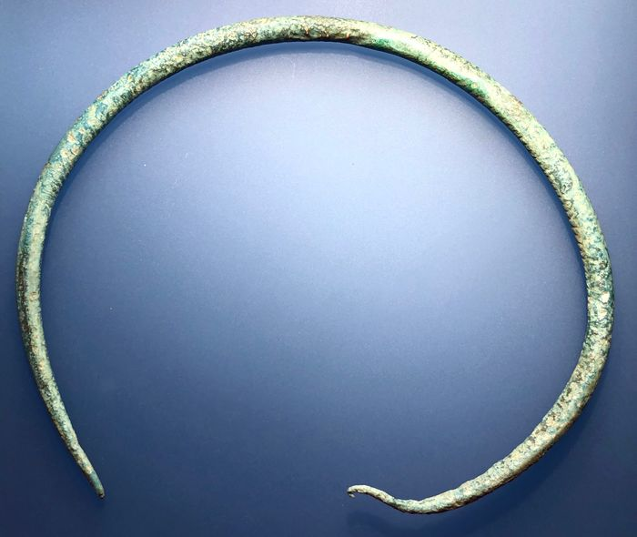Ancient Celtic Bronze Scarce and Elegantly shaped Torque (neck bracelet) with a lovely light green natural patina.