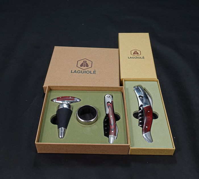 Laguiole waiters knife & Laguiole Gift Set with waiters knife, bottle stopper and drop stop ring - Laguiole - 4 items