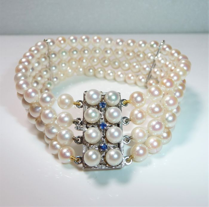 Maker's Mark - 14 kt Weißgold - Armband - 0.10 ct Saphire - Akoya pearls - four rows