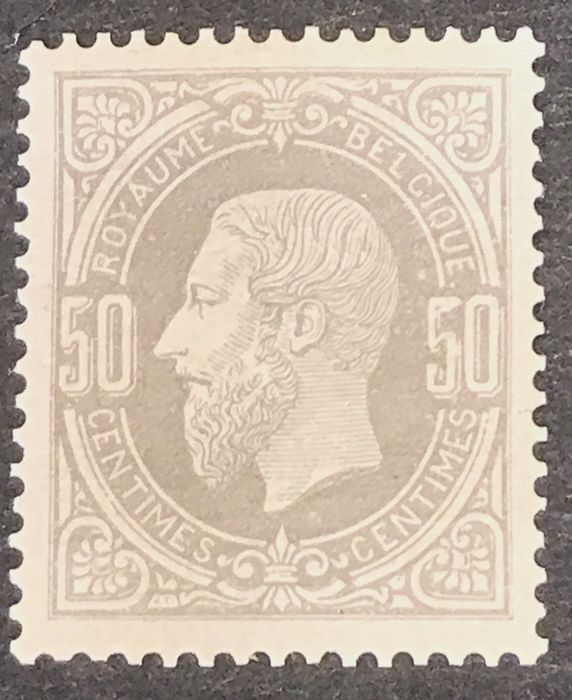 Belgium 1869/1883 - Leopold II 1869 issue - 50c grey - MNH with wonderful centring - OBP / COB 35